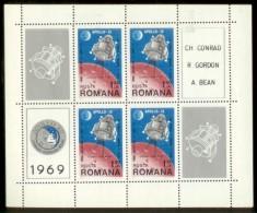 ROMANIA 1969 MNH** - Apollo 12, M/S - Mi B74 - Hojas Bloque