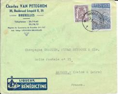 LETTRE - 1949 - OBLITERATION  CACHET  Publicité Liqueur BENEDICTINE - Belgium