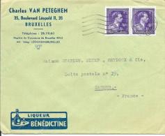 LETTRE -  - OBLITERATION  CACHET  5 LIGNES ONDULEES  Publicité Liqueur BENEDICTINE - Belgium