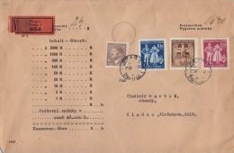 Böhmen & Mähren Wertbrief Mif Minr.95,133,134,135 Prag 20.4.44 Einlieferungsschein - Bohemia & Moravia