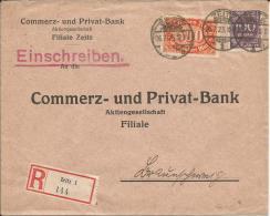 Deutsches Reich Infla Einschreibe  Beleg 1923  MiF Zeitz - Braunschweig - Lettres & Documents