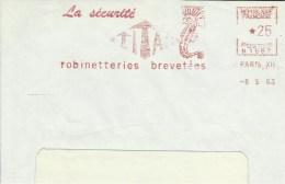 Lettre Flamme EMA Secap 1963 Securite Titan Animaux Poissons Hippocampe  Theme 75 Paris A27/19 - Fishes