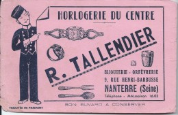 Horlogerie/ Bijouterie Orfévrerie/ R. Tallendier / Nanterre / Seine / Vers 1945-1955    BUV120 - Buvards, Protège-cahiers Illustrés