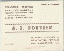 Horlogerie /Bijouterie / AJ Pottier / Saint Cyr L'Ecole  / Seine Et Oise / Vers 1945-1955    BUV123 - Buvards, Protège-cahiers Illustrés