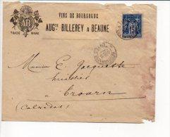 1887 - Cachet à Date Manuel Recette Paris Sur Sage (voir Verso) Entète Vins De Bourgogne A. Billerey à Beaune - 1877-1920: Période Semi Moderne