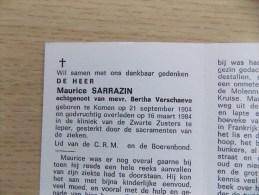 Doodsprentje Maurice Sarrazin Komen 21/9/1904 Ieper 16/3/1984 ( Bertha Verschaeve ) - Religione & Esoterismo