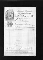 """Facture Illustrée  Grands Magasins De Nouveautés"""" Aux Travailleurs"""" Bd Voltaire Paris .E .DOLEZON - Textile & Vestimentaire"""