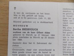 Doodsprentje Martha Biesbrouck Wervik 27/2/1904 - 22/12/1989 ( Gilbert Adam ) - Religión & Esoterismo
