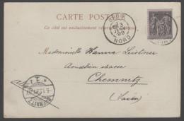 Type Sage N° 89 Avec Oblitération Cachet à Date D'Epoque Sur Carte Postale  TB - 1876-1898 Sage (Type II)