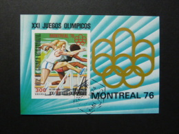 BLOC FEUILLET . -  GUINEE EQUATORIALE  -  J.O. MONTREAL 1976 - ATHLETISME 80m Haies Fem - Estate 1976: Montreal