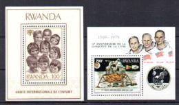 Année De L'Enfant, Conquête De La Lune, BF 82 Et 84**, Cote 12,25 €, - Rwanda
