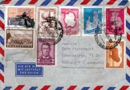 ARGENTINA 1958 - Sehr Schöne 8 Fach Frankierung Auf Brief Gel.nach Hamburg - Argentinien