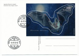 """SUISSE - Bloc-Feuillet """"Plecotus Auritus"""" Sur CP - Zürich 2012 + Carte Postale Vierge Concordante. - Switzerland"""