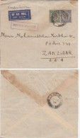 TANGANYIKA ENV 1934 DARESSALAAM SUR N°25 ET 30A  FEEDER SERVICE => ZANZIBAR   LETTRE COVERS - Tanganyika (...-1932)