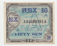 "Japan 50 Sen 1946 VF+ Series 100 Letter ""A"" Pick 64 - Japan"