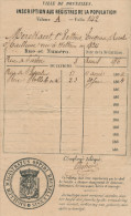 Eugénie Rosalie MERCKAERT , Veuve Pettens - Née WETTEREN 1824 - Registre De Population BRUXELLES 1856/1864  -- C2/478 - Manuscrits