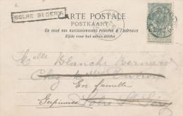 490/22 --  Carte-Vue TP Armoiries BRUGES Station 1905 Vers SOLRE ST GERY - TRES RARE Réexpédition Via La Griffe De GARE - Poststempel