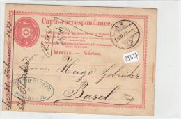 Philatélie - Suisse - Entier Postal Au  Circulé Le 20.03.1873 - Stamped Stationery