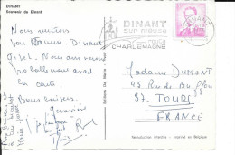 """LETTRE - 1967 - OBLITERATIONS FLAMME DINANT  - """" DINANT / Sur Meuse / Route / CHARLEMAGNE"""" - Postmark Collection"""