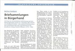 Preussen, Briefsammlungen Der Berliner Stadtpost, 1 DIN A 4 Seite - Filatelia E Historia De Correos