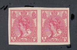 PAYS-BAS Y&T N° 51a NEUF NON DENTELE EN PAIRE. TRES BEAU. COTE +20 EUROS - 1891-1948 (Wilhelmine)