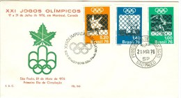 BRASIL First Day Cover Judo, Sailing And Baskerball - Summer 1976: Montreal