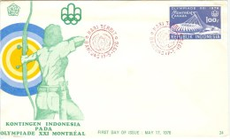 INDONESIA First Day Cover - Summer 1976: Montreal