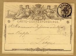 Carte Correspondance Entier Postal 1873 Hasselt à Liège - Postwaardestukken