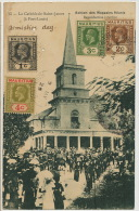 15 La Cathedrale Saint James A Port Louis 4 Timbres Differents Vers Camaguey Cuba - Maurice