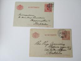 Schweden 1916 / 1920 Kartenbriefe / Kortbrev 2 Stück. Stockholm - Schweden