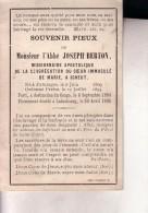 CONGO SCHEUT PATURAGES Abbé Joseph BERTON Missionnaire LULUABOURG 1869-1895 Souvenir Mortuaire - Décès