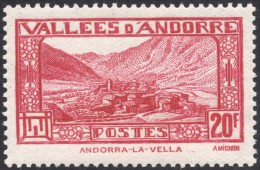 Andorra, 20 F. 1932, Sc # 63, Mi # 47, MH - French Andorra