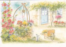 CPM  Représentant Une Aquarelle Originale De D. LEBEAU -  Un Puits Fleuri Devant Une Entrée De Maison  //  TBE - Paintings