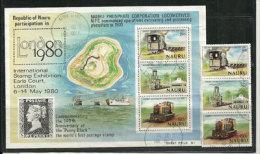 Transport Du Phosphate à L´île Nauru (Central Pacific) Un BF + Série 3 T-p Oblitérés. Côte 9.00 € - Minéraux