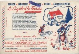Credit Coopératif De France / La Cigale Et La Fourmi / Saint André Lez Lille /vers 1945-1955     BUV138 - Bank & Insurance