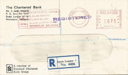 """Malaysia 1977 Kuala Lumpur Standard Chartered Bank Pitney Bowes """"Automax"""" PB034 Franking Meter Registered Domestic Cover - Maleisië (1964-...)"""