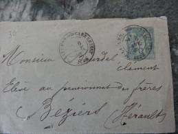 Entier Postal 5c Type Sage Sur Lettre St Laurent De La Cabrerisse Aude 1885 - 1877-1920: Période Semi Moderne