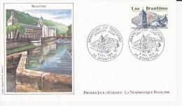 BRANTÔME (24), Abbaye, Dessin De Pierre BEQUET, FDC 05/02/1983 - 1980-1989