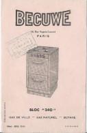 Cuisiniére Au Gaz/ BECUWE/ Gaz De Ville/ Gaz Naturel/ Butane/Paris / Vers 1945-1955     BUV156 - Elektrizität & Gas
