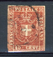 Toscana, 1860 Governo Provvisorio C. 40 Sassone N. 21C Carminio, Usato, Firmato Biondi - Toscana