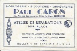 Horlogerie / Bijouterie : Orfévrerie/ Paul Caron / Suresnes / Vers 1945-1955     BUV158 - Buvards, Protège-cahiers Illustrés