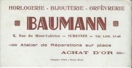 Horlogerie / Bijouterie /Orfévrerie/ Baumann/SURESNES / Vernon /Eure/ Vers 1945-1955     BUV159 - Buvards, Protège-cahiers Illustrés