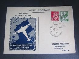 Carte Postale Exposition Philatélique Prisonnier Par Avion Alger Paris 1946 Avion - Poste Aérienne