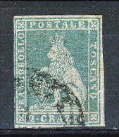 Toscana 1857 2° Emissione, Cr 2 Azzurro Sassone N. 13, Usato Firmato Biondi - Toscane