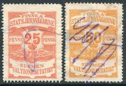 Russia Finland 1905 State Railways (VR) 25+50 Penni Railway Parcel Eisenbahn Paketmarke Chemin De Fer Colis Russland - Trenes