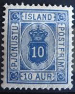 Islande Service 1876/02 - YT S 6a Neuf* Charnière - Dent. 12 1/2 - 10 Aur Outremer - Dienstpost