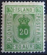 Islande Service 1876/02 - YT S 8 Neuf* Charnière - 20 Aur Vert Jaune - Dienstpost