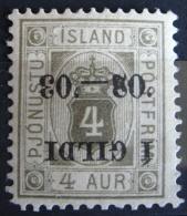 Islande Service 1902 - YT S 11a Neuf* Charnière - Surcharge Renversée - 4 Aur Gris Surchargé - Dienstpost