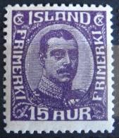 Islande 1920 - Christian X - YT 89 Neuf* Charnière - 15 Aur Violet - Ungebraucht