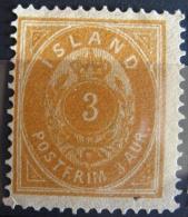 Islande 1882 - YT 12 Neuf* Charnière - 3 Aur Bistre Jaune - Dentelé 14 - Ungebraucht